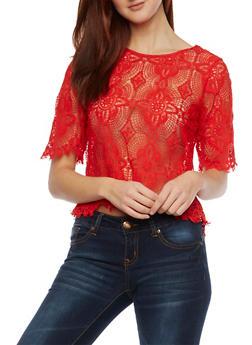 Crochet Top with Zip Back - 1001058750849