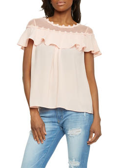 Sheer Chiffon Ruffle Top with Fishnet Yoke - 1001058750943