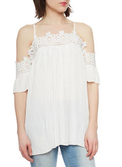 Pleated Cold Shoulder Blouse with Crochet Trim - IVORY - 1001058751072