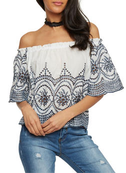 Off the Shoulder Eyelet Top - 1001058751115
