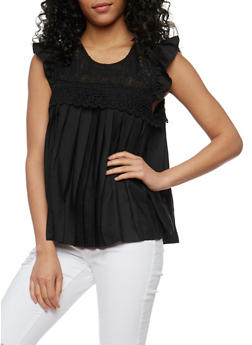 Pleated Baby Doll Top with Crochet Yoke - 1001058751283