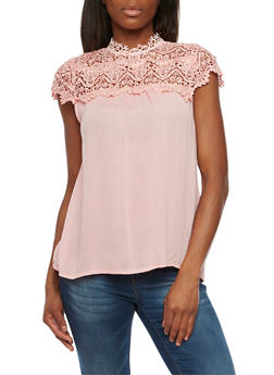 Top with Lace Panel - BLUSH - 1001058751496