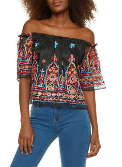 Embroidered Mesh Off the Shoulder Top - 1001058752150