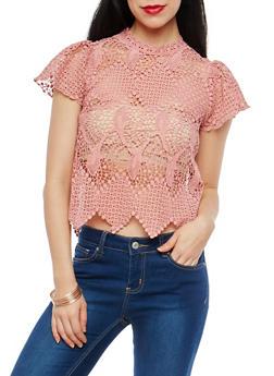 Crocheted Zip Back Top - 1001058752204