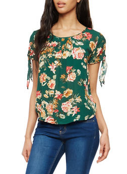 Floral Crepe Knit Blouse - 1001058752379