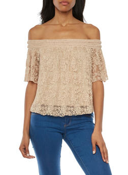 Off the Shoulder Top in Pleated Lace - 1001058754974