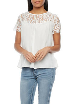 Top with Lace Panel - IVORY - 1001058755085