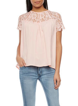 Top with Lace Panel - BLUSH - 1001058755085