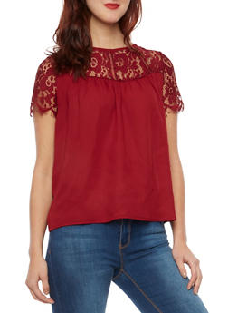 Top with Lace Panel - BURGUNDY - 1001058755085