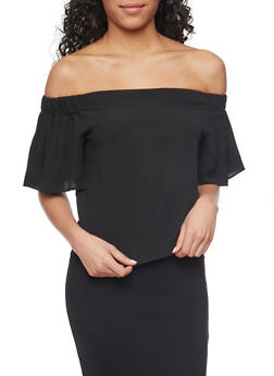 Crepe Knit Off the Shoulder Top with Flutter Sleeves - 1001058755113