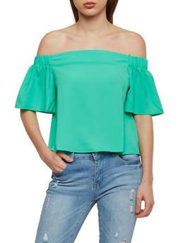 Crepe Knit Off the Shoulder Top with Flutter Sleeves - 1001058755113