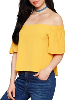 Crepe Knit Off the Shoulder Top with Flutter Sleeves - MUSTARD - 1001058755113