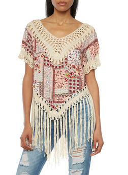 Paisley Top with Fringe Hem and Crochet V Neck - 1001058755743