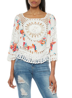 Floral Print Top with Crochet Paneling - 1001058755744