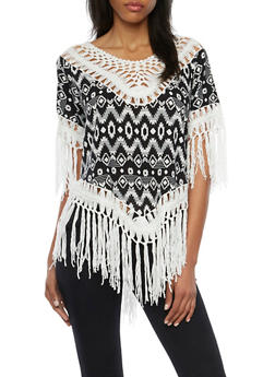 Aztec Print Top with Crochet Trim and Fringe - BLACK/WHITE - 1001058755745