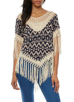 Aztec Print Top with Crochet Trim and Fringe - 1001058755745