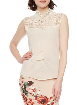 Sleeveless High Low Mockneck Top with Fishnet Yoke - 1001058755747