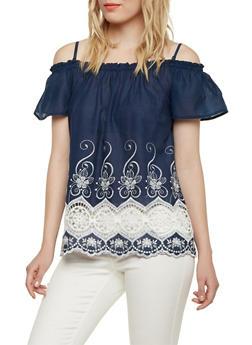 Off The Shoulder Peasant Top with Crochet Hem - 1001058755831