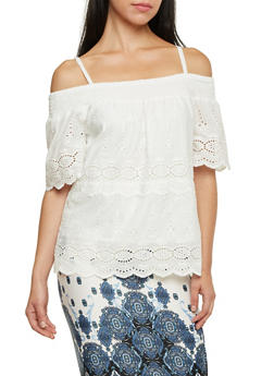 Off the Shoulder Crochet Top with Straps - WHITE - 1001058755846