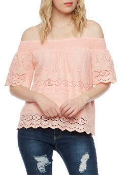 Off the Shoulder Crochet Top with Straps - BLUSH - 1001058755846