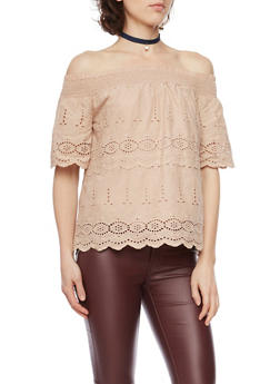Off the Shoulder Crochet Top with Straps - 1001058755846