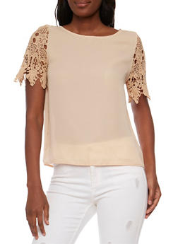 Scoop Neck Top with Crochet Short Sleeves - 1001058756005
