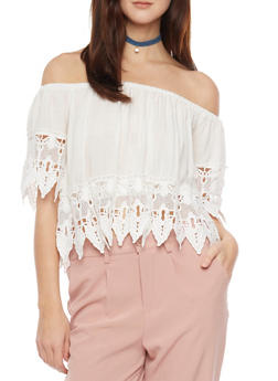 Off The Shoulder Crop Top with Crochet Leaf Trim - WHITE - 1001058756006