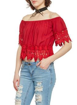 Off The Shoulder Crop Top with Crochet Leaf Trim - WINE - 1001058756006