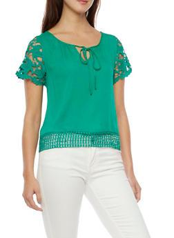 Crochet Sleeve Top with Keyhole Cutout - 1001058756007