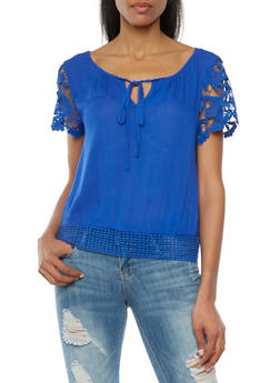 Crochet Sleeve Top with Keyhole Cutout - 1001058756007