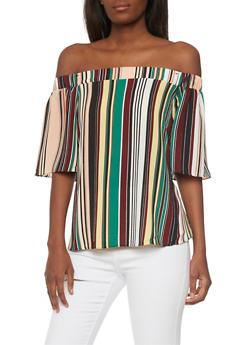 Off the Shoulder Multi-Color Striped Top - 1001058756099