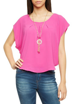 Scoop Neck Circle Top with Necklace - 1001058756119