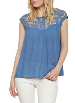 Babydoll Top with Crochet Panel - 1001058756161
