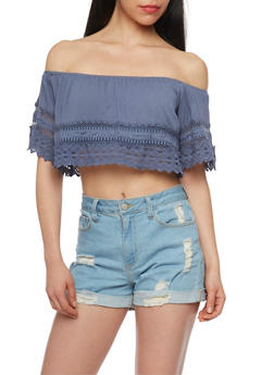 Crinkled Knit Off The Shoulder Crop Top with Crochet Detail - 1001058756165