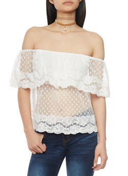 Off The Shoulder Embroidered Mesh Lace Trim Top - WHITE - 1001058756189