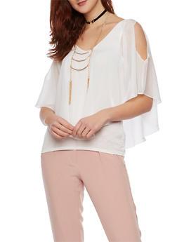Cold Shoulder Flutter Top with Necklace - 1001058756510