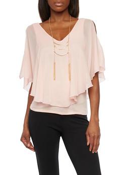 Cold Shoulder Flutter Top with Necklace - BLUSH - 1001058756510