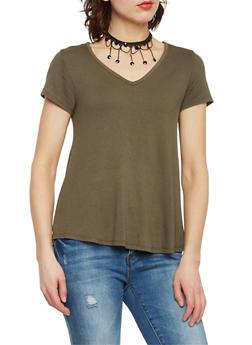 Basic T Shirt with Fringe Choker - 1001058756527