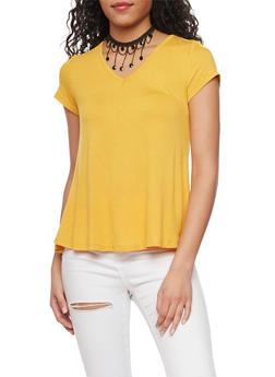 Basic T Shirt with Fringe Choker - 1001058756527