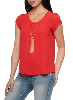 Short Sleeve Top with Removable Necklace - 1001058756543