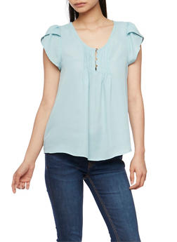 Soft Knit Short Sleeve Pleated Top - 1001058756622