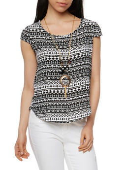 Tribal Print Crochet Back Top with Necklace - 1001058756714