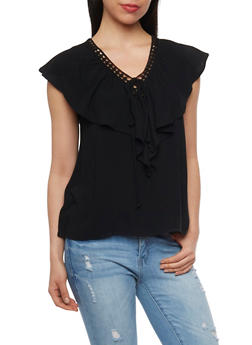 Faux Lace Up V Neck Top with Capelet - BLACK - 1001058756718