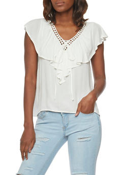 Faux Lace Up V Neck Top with Capelet - OFF WHITE - 1001058756718