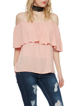 Off the Shoulder Top with Straps and Ruffle Overlay - 1001058756755