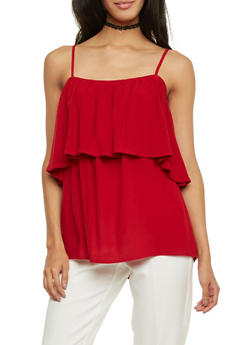 Off the Shoulder Top with Straps and Ruffle Overlay - WINE - 1001058756755