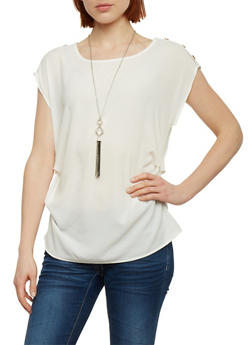 Ruched Solid Crepe Top with Necklace - 1001058756790