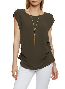 Ruched Solid Crepe Top with Necklace - OLIVE - 1001058756790