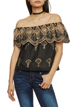 Embroidered Off Shoulder Top with Scalloped Overlay - 1001058756821