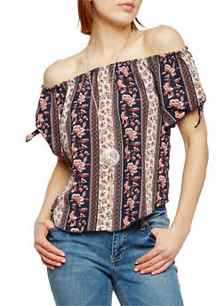 Off the Shoulder Floral Top with Necklace - 1001058756823